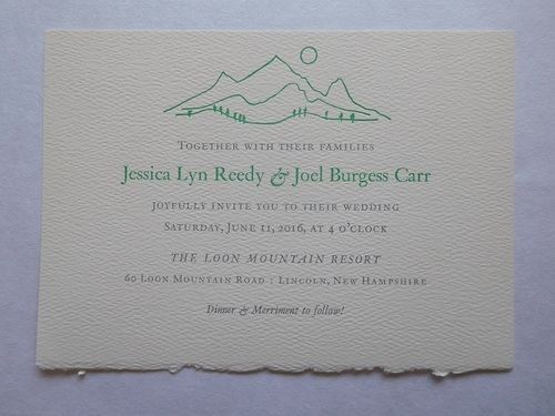 Wedding invites marsolais press lettercarving invitations for a mountain top wedding ceremony call for a subtle combination of elegance and rusticity the client wanted her sketch of loon mountain to stopboris Choice Image
