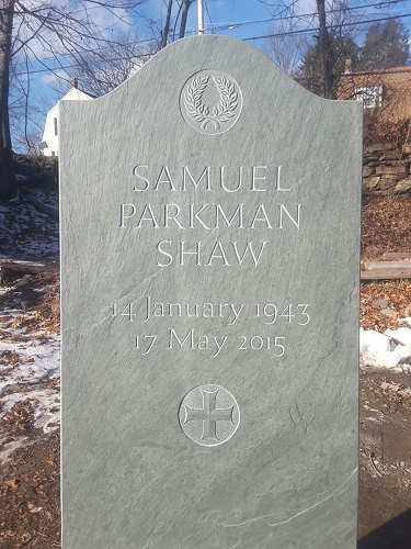 Shaw Memorial - The family who commissioned this memorial requested that it combine strength and simplicity, with a laurel wreath and a Greek cross serving as ornamentation. Hand carved in Vermont green slate.Location: Mt. Auburn Cemetery, Cambridge, MA