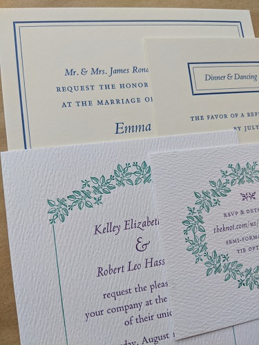 Wedding Invites - The resurgence of interest in letterpress printing over the last decade or so has been driven largely by the demand for unique, memorable and deluxe wedding invitations. I am always glad to hear from people planning their Special Day and I take pride in providing couples a typographic service that communicates to family and friends the style of ceremony they can expect from the invitation. Here are two recent invites that I happened to be working on at the same time, for two different sets of personalities. One wanted something formal and elegant, and got miles of carefully spaced small caps and a double-rule border. The other wanted something more lush to go with their summer wedding in Florida, and so we planted a lot of floral ornamentation. They were both right!