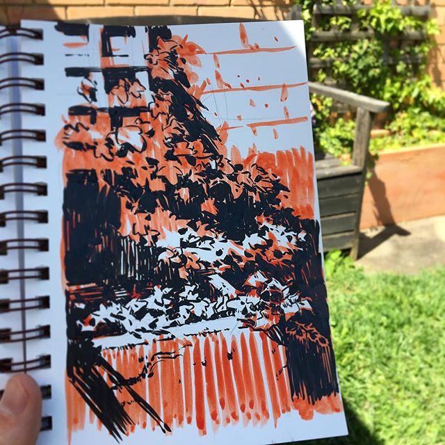 Inktober Day 7: Phew, managed to catch up with this messy sketch of the ivy in my backyard. • • • #inktober #inktober2017 #garden #artistsofinstagram #instaartist #sketchbook #pleinair #pleinairpainting #pleinaire #landscape #landscapepainting #instaart #artoftheday #artofinstagram #adelaide #adelaidehills #drawing #painting #photooftheday #nature #dailypainting #photooftheday #ink  #comics #brushpen #cartoon