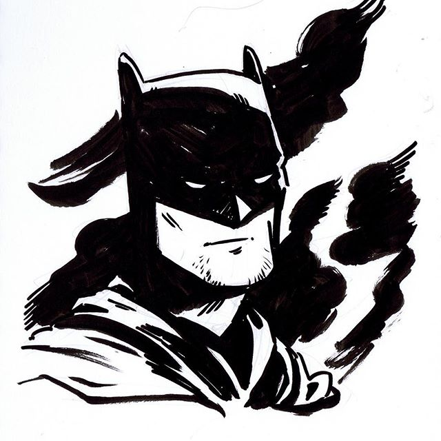 Warmup Batman. Channeling a bit of my admiration for Chris Samnee here. I got my greasy mitts on IDW's artist edition of his Daredevil run and it is ridiculously good. • • #sketch #sketchbook #sketchaday #artistsofinstagram #art #drawing #photooftheday #ink  #comics #brushpen #artoftheday #cartoon #batman #warmup