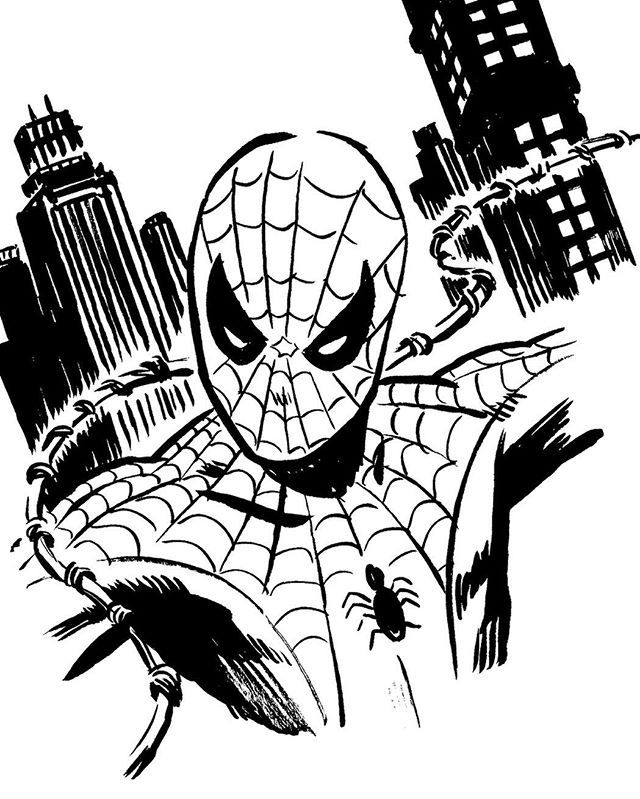 Spidy warmup from this morning. Gotta work on my windows being so freaking wonky! #spiderman #webslinger #warmup #practice #comics #peterparker #sketch #sketchbook #sketchaday #artistsofinstagram #art #drawing #ink #brushpen #artoftheday #cartoon #blackandwhite