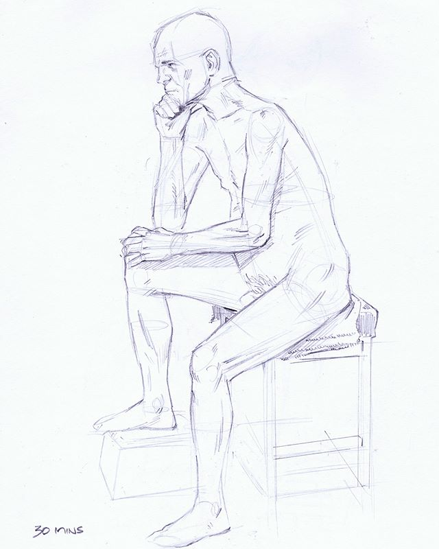Some life drawings from a session on Thursday night. The model was telling the group he was deliberately giving us some hectic foreshortening, cheeky bugger! #figuredrawing #lifedrawing #sketch #sketchbook #sketchaday #artistsofinstagram #art #drawing #photooftheday #artoftheday #graphite #pencil #artwork #model