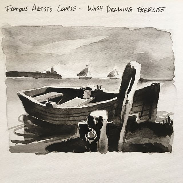 A bit of extra studying over the long weekend. I've been messing around with recording time lapses of my traditional work. This was shoddily recorded using a fluro pink selfie stick and my phone. Perhaps a gear upgrade would be worthwhile? 😂 #famousartistscourse #studygram #drawing #watercolour #washdrawing #sketch #sketchbook #seaside #boat #artistsoninstagram #art #photooftheday #artoftheday