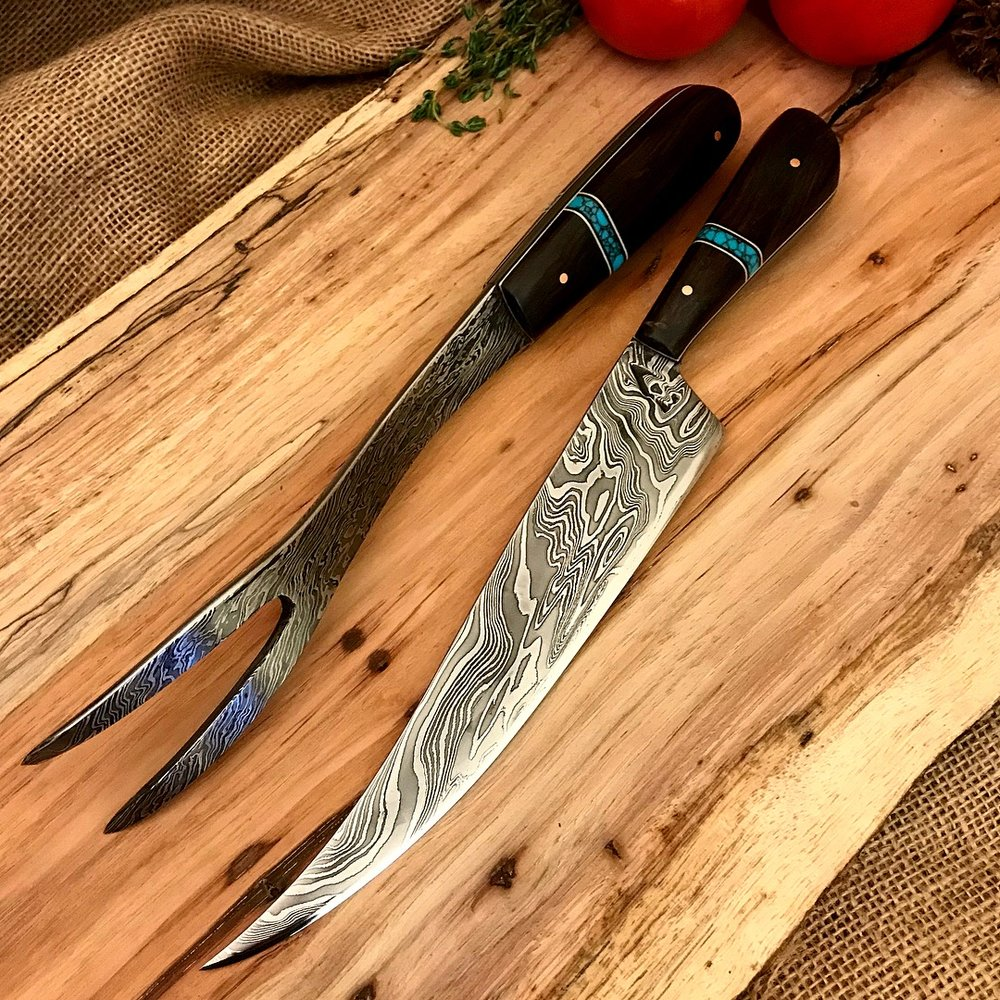 DogHouse Damascus fork and carver