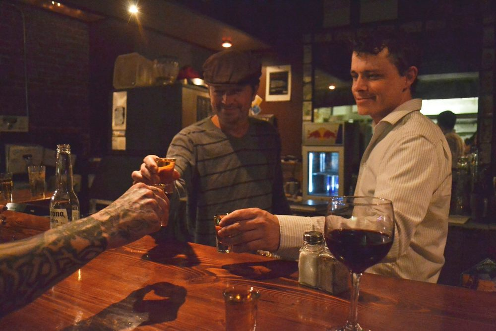 Pat McIntyre (left) celebrates the evening with friends.    Photo by Alexandra Rabbitte