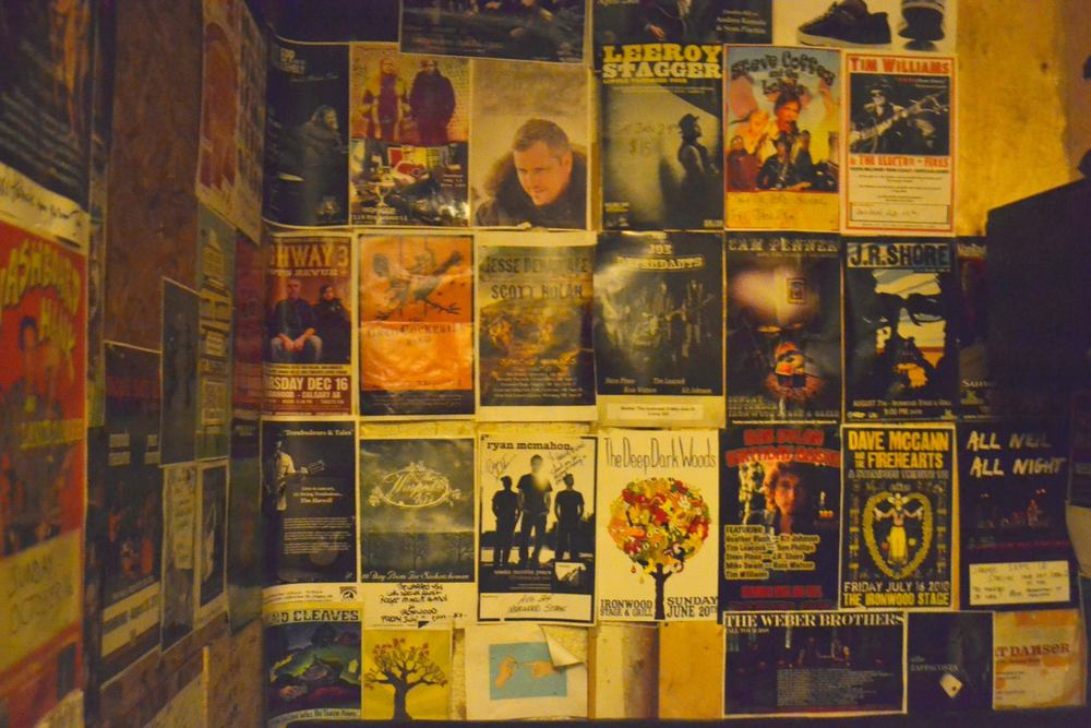 Posters of past performers who have all played at The Ironwood Stage & Grill.   Photo by Alexandra Rabbitte