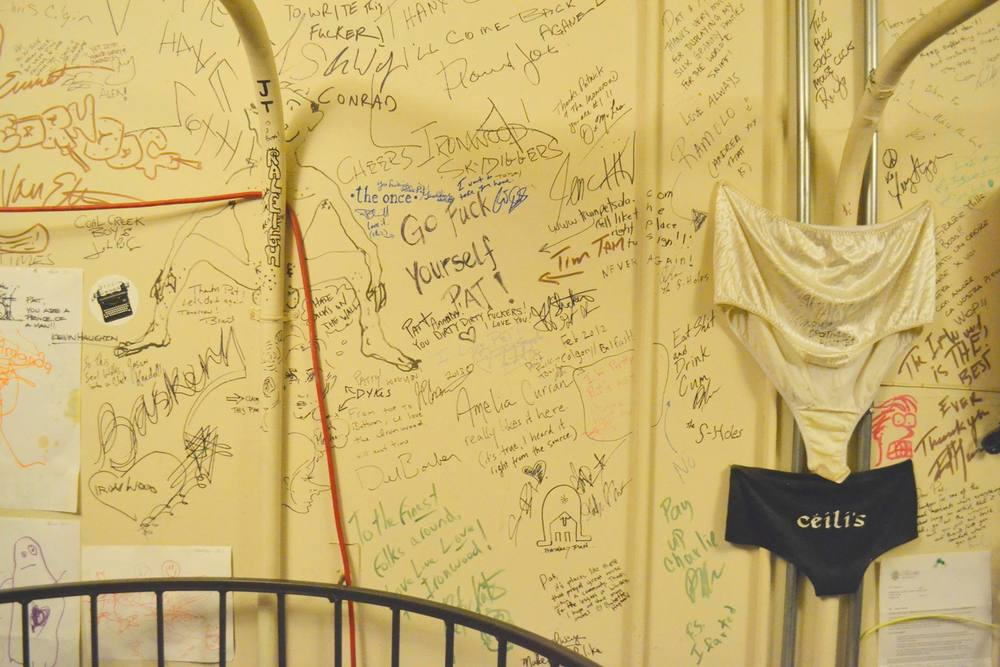 A wall or notes from artists' who have passed through the Ironwood.    Photo by Alexandra Rabbitte
