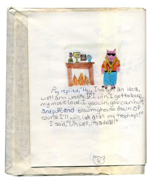 A page from one of Libby's earliest projects - a retelling of the Three Little Pigs