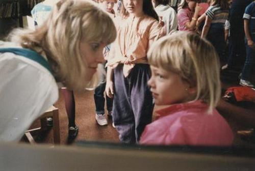 Libby and her mother with matching blonde bobs in the 80's
