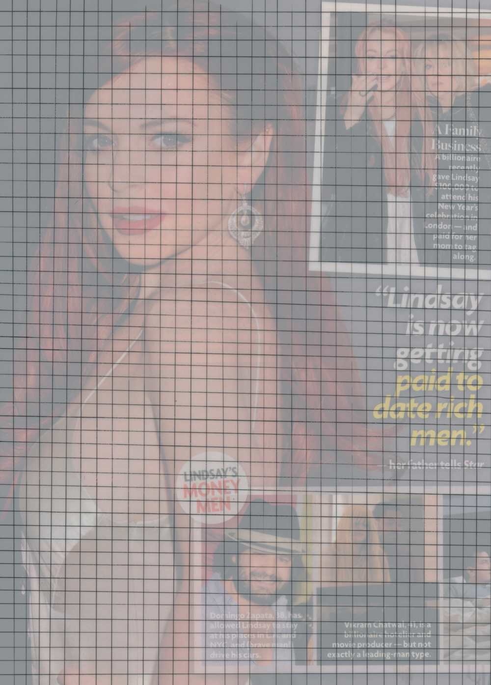 Celebrity Grid (Getting Paid to Date Rich Men), 2013  , Pen on mylar, archival pigment print