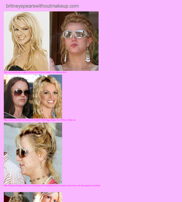 britneyspearswithoutmakeup.com , 2012, website (screenshot)