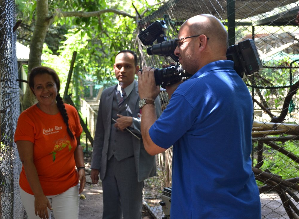 Sarita the volunteer coordinator is giving the television team a tour through the Rescue Center, introducing our Rescues and their destinies.