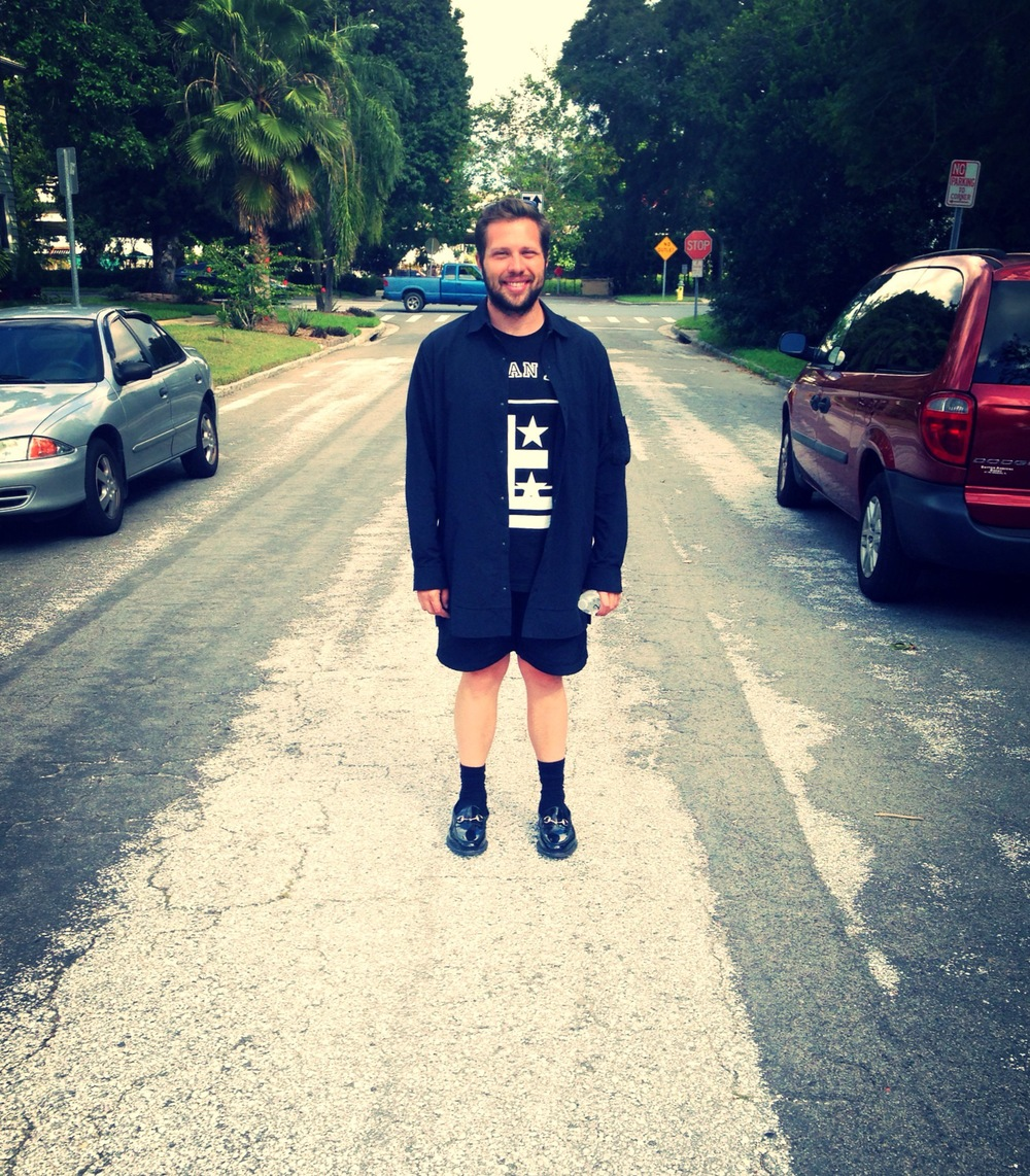 Mario Diaz-Moresco in St. Petersburg, FL. Shorts and shirt jacket by Alexander Wang, t-shirt by Givenchy, shoes by Gucci