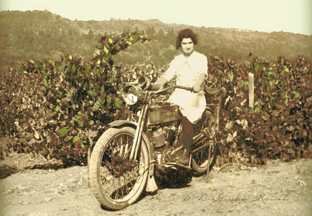 Circa 1920 - our grandmother, Irene, on a 1915 Harley Davidson.   Image © 2014 Pauline DiGiulio Tofanelli