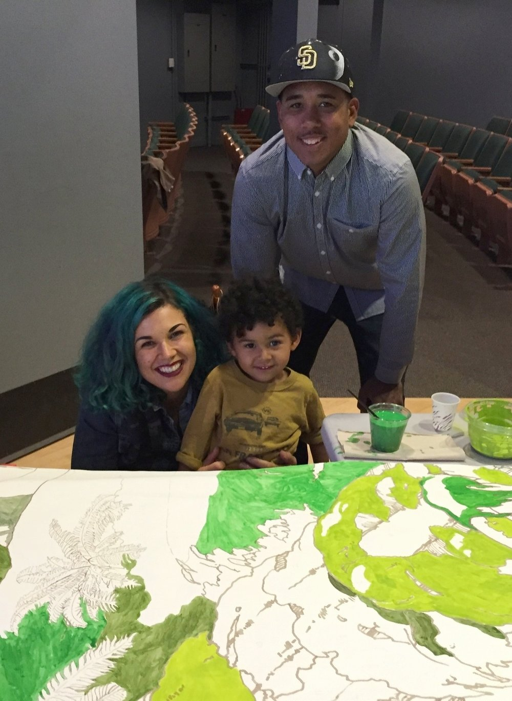 This little guy was proud of the green 'clouds' he painted.