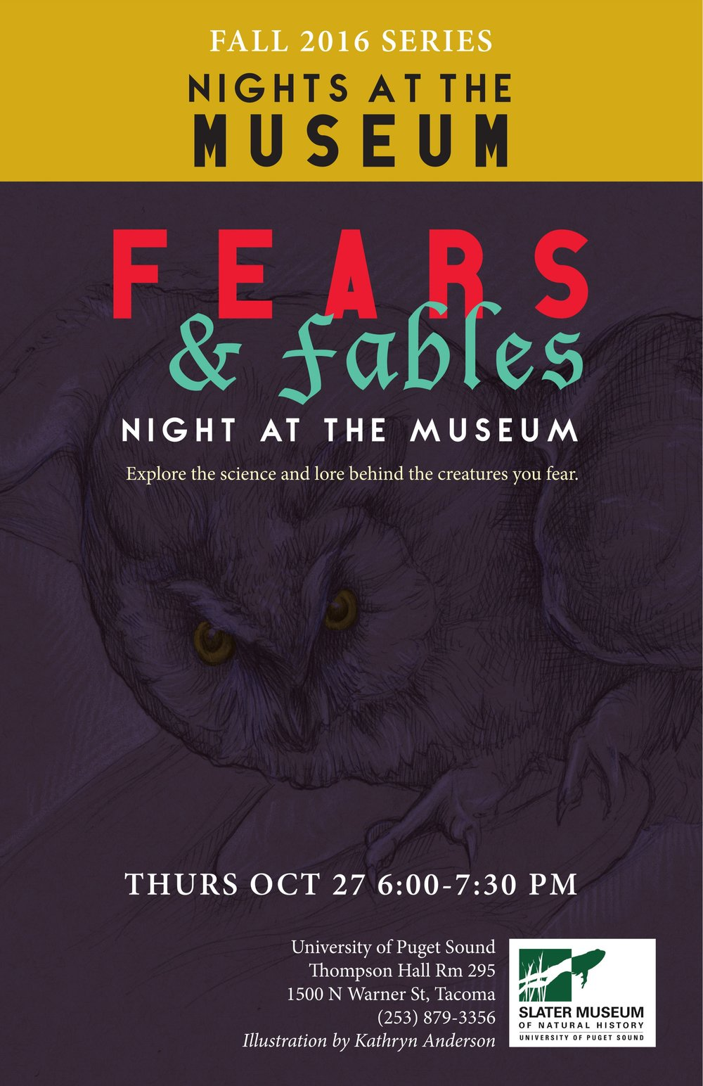 Flyer design incorporates a visitor's illustration of a taxidermied owl.