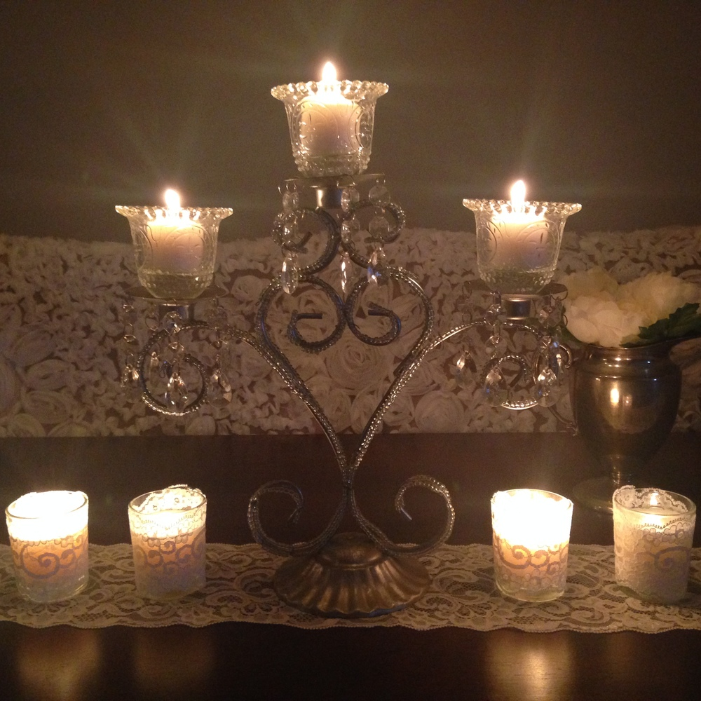 Vasescandles with love this beautiful silver candelabra has a shabby chic appearance with a touch of glam looks beautiful as a centerpiece or as an addition to dessert bar reviewsmspy
