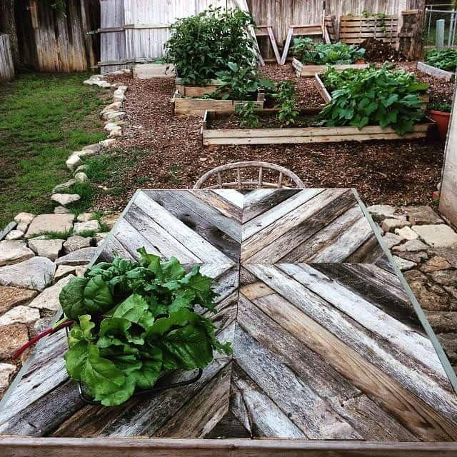 A few of Forrest's first tables and a glimpse of his gardening! Yum!