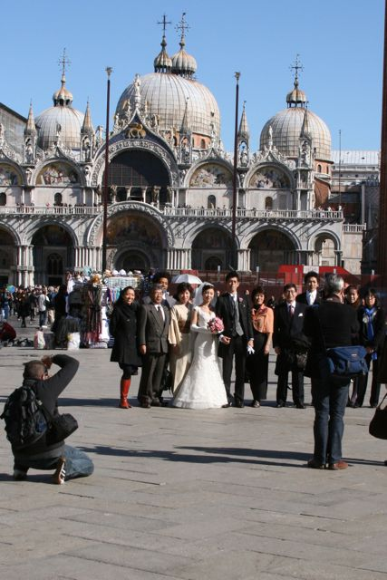 A wedding party  at Piazza San Marco.