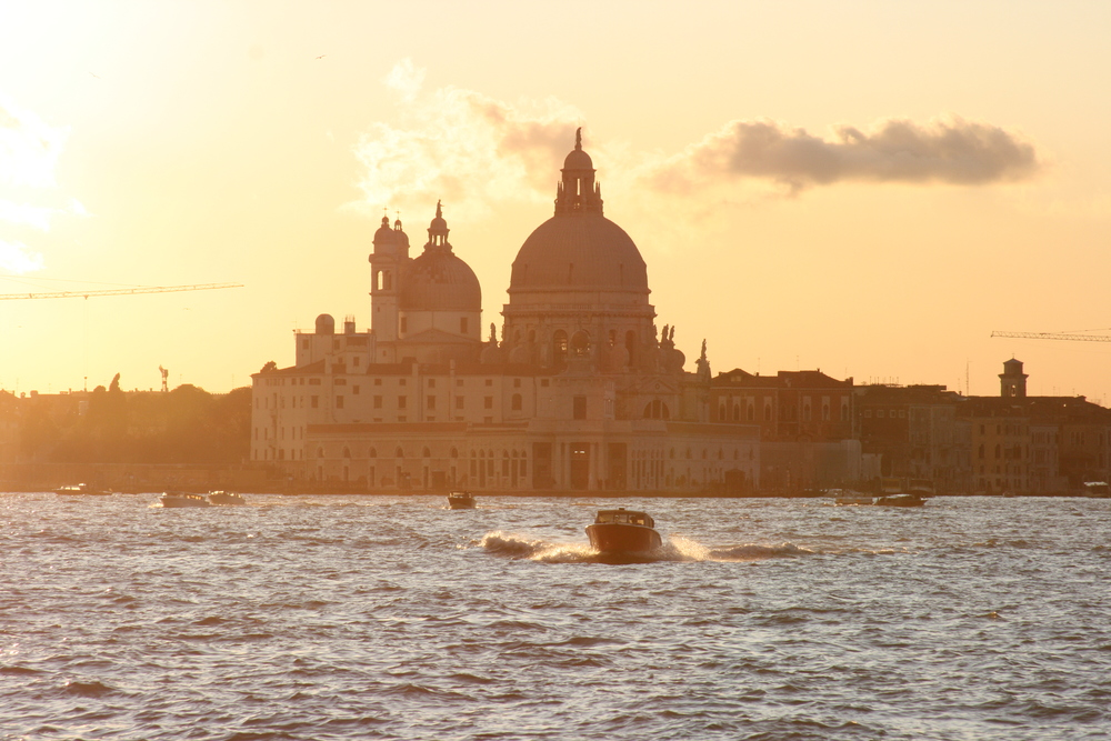 Santa Maria della Salute by sunset in Venice