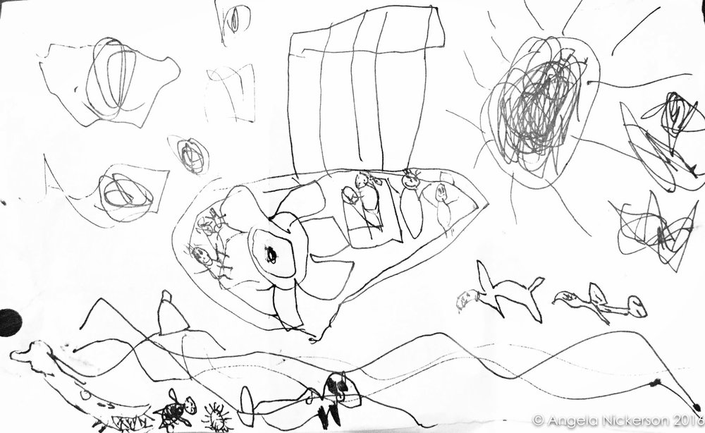 Bambino's drawing of our boat trip with Under the Sea HAwaii
