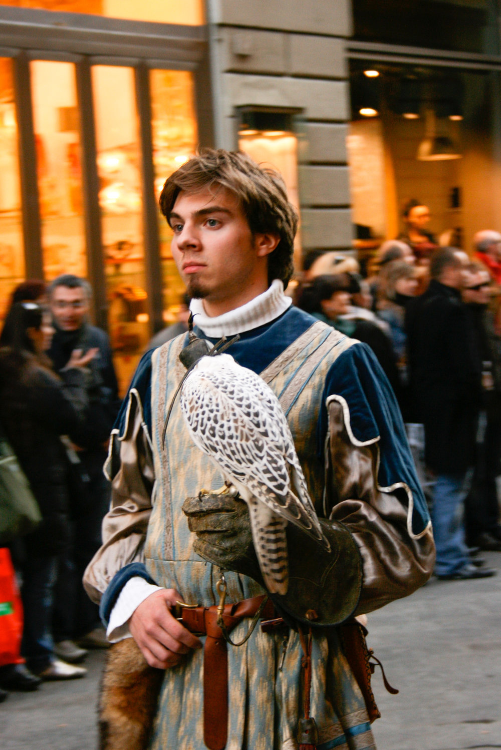 A falconer in Florence's Renaissance-style parade