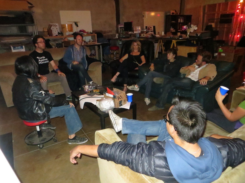 The Lounge (room 1). From L to R: Tre, Myles, Greg, Dagny (in my chair), Erin, Blake, April, Dash with the blue hoodie.