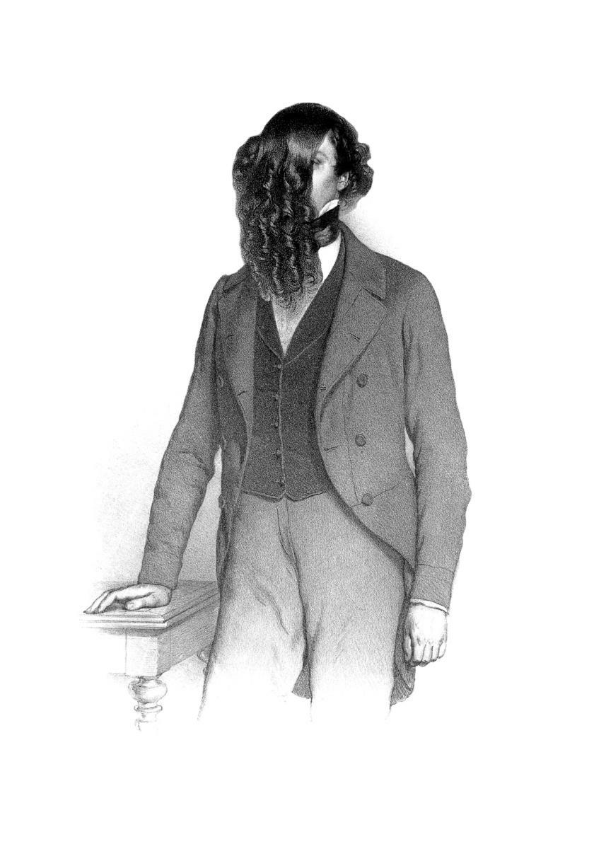 Markus Schinwald,  Milton  , 2014. Pigment print 100×40 cm. Courtesy Giò Marconi, Milano och Thaddeus Ropac Paris/Salzburg.