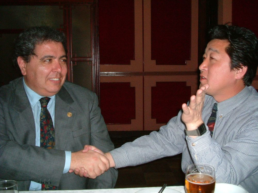 PHF Dr. Massimo Urbani was posted 3 times to Pyongyang (with the WHO, UNICEF and the Italian government) where he first met our project partner Dr. Jong Sang Hun in 2003. Here they discuss the dream of establishing the first Rotary club in Pyongyang.