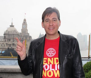 "Philippe Hugot leads a ""We're this close"" awareness building project as part of the ""World's biggest commercial"" – in support of Rotary's global initiative to eradicate polio."