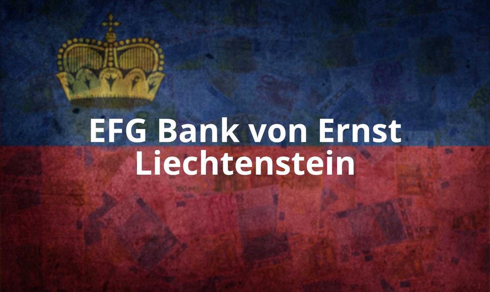 """- """"Die EFG Bank von Ernst AG in Vaduz ging aus der liechtensteinischen Tochtergesellschaft der 1869 in Bern gegründeten ehemaligen Bank von Ernst & Co AG hervor.."""""""