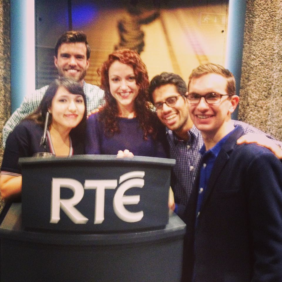 Myself with other Mitchells at RTÉ in Dublin for a taping of  Claire Byrne Live .