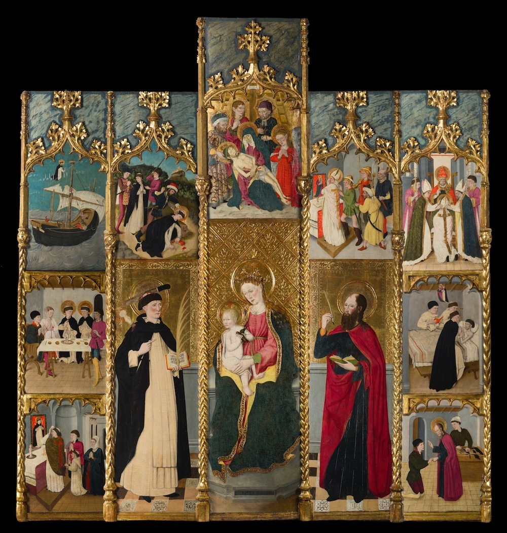 261_Joan Figuera_The retable of The Virgin. Saint Peter Martyr. and Saint Mark_Egg tempera on panel_261 x 249 cm. 102 ¾ x 98 in._small-1.jpg