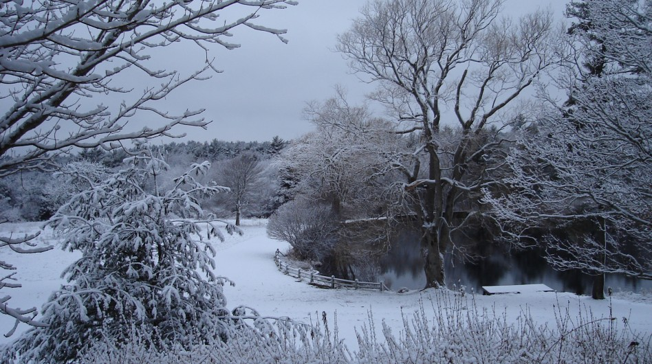 ARNOLD HALL GROUNDS. A WINTER SCENE BY THE LAKE. ARNOLDHALL.COM/RETREATS/