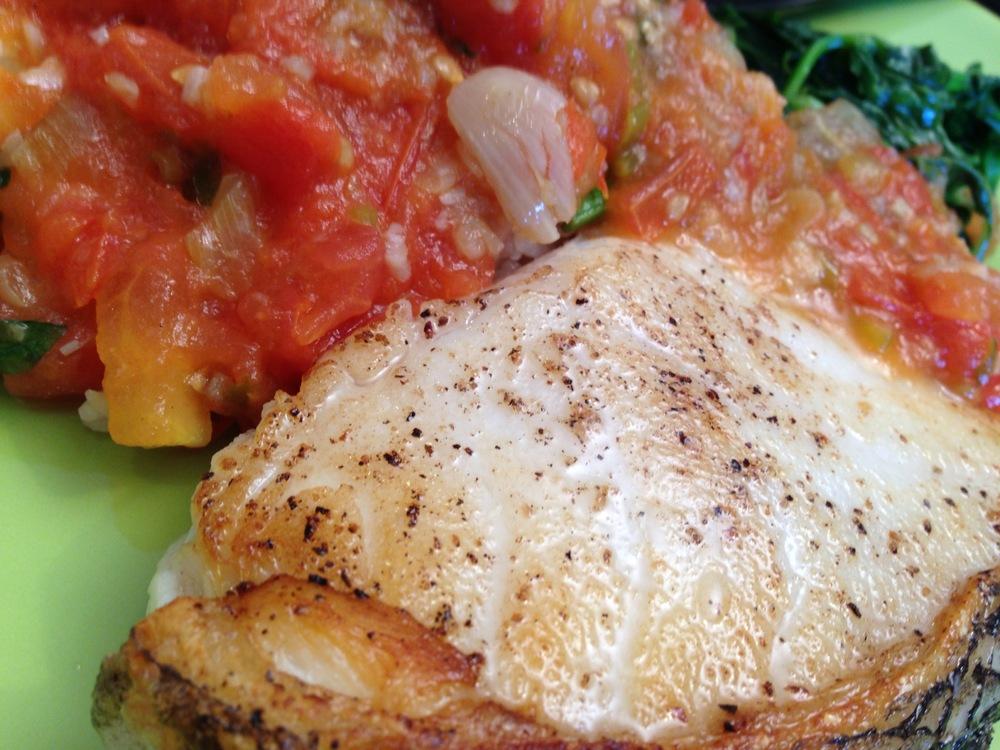 seabass and tomato sauce