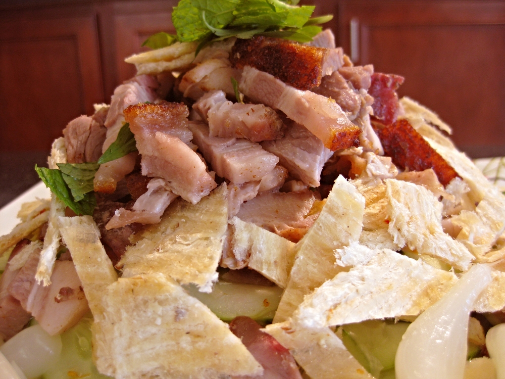 A closer look at the crispy pork and dried fish.