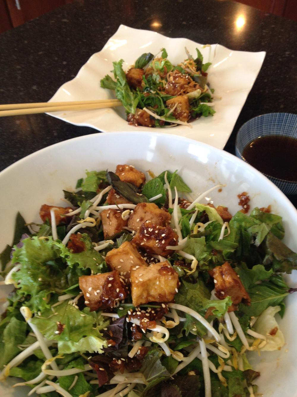 mixed mints and tofu salad