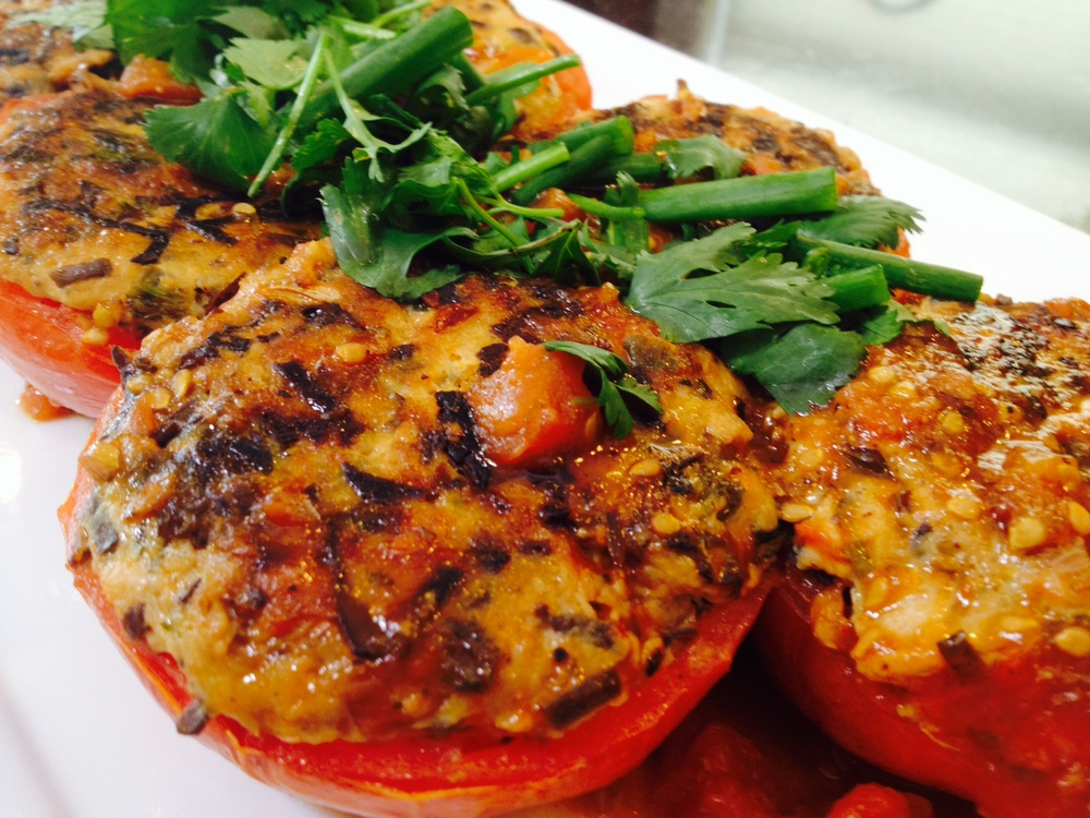 Chicken and Crab Stuffed Tomato