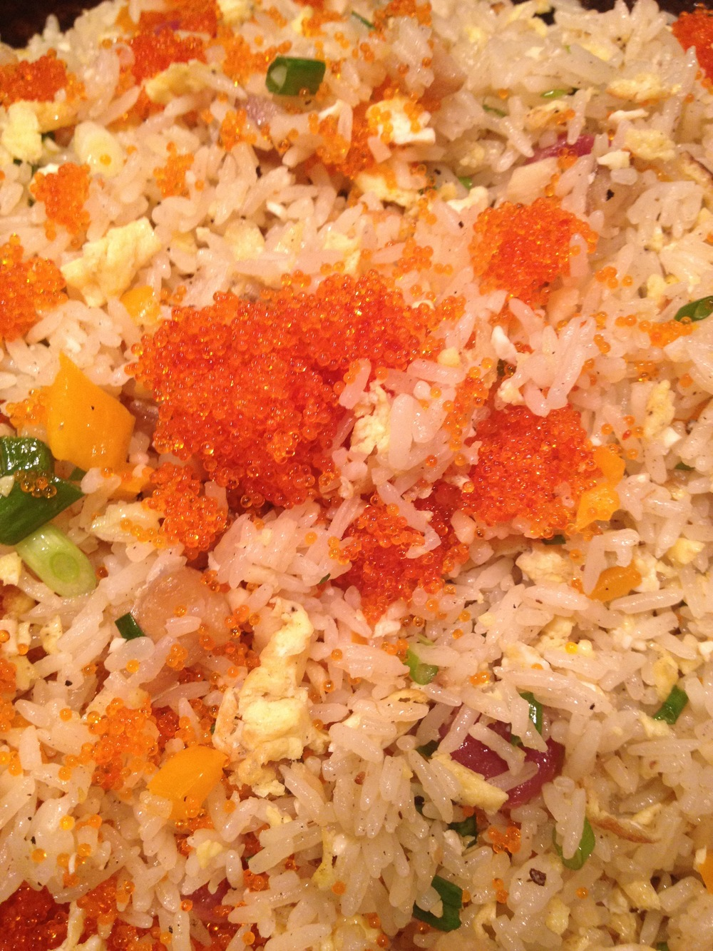 Fried rice with masago, eggs and bell pepper