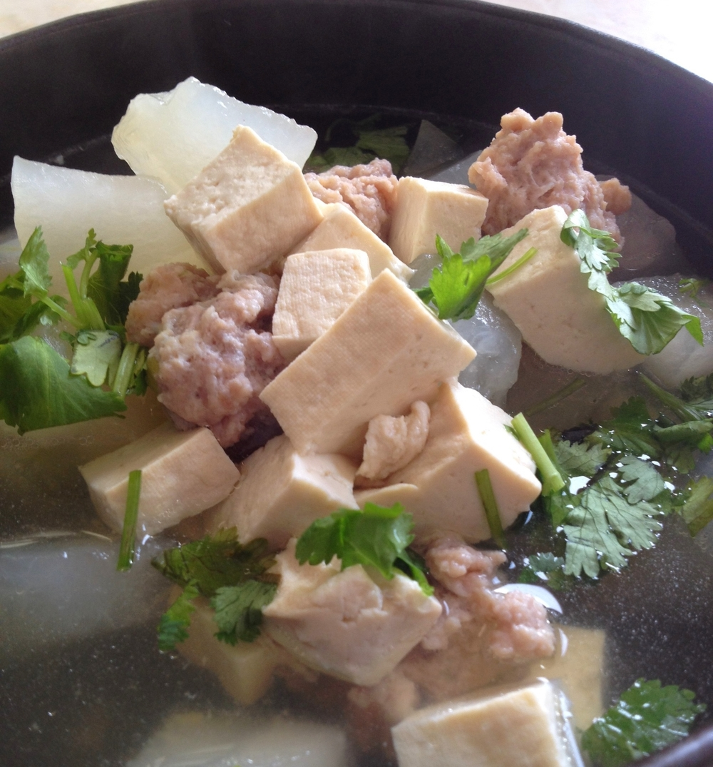 Tofu and Meat Balls Melon Soup
