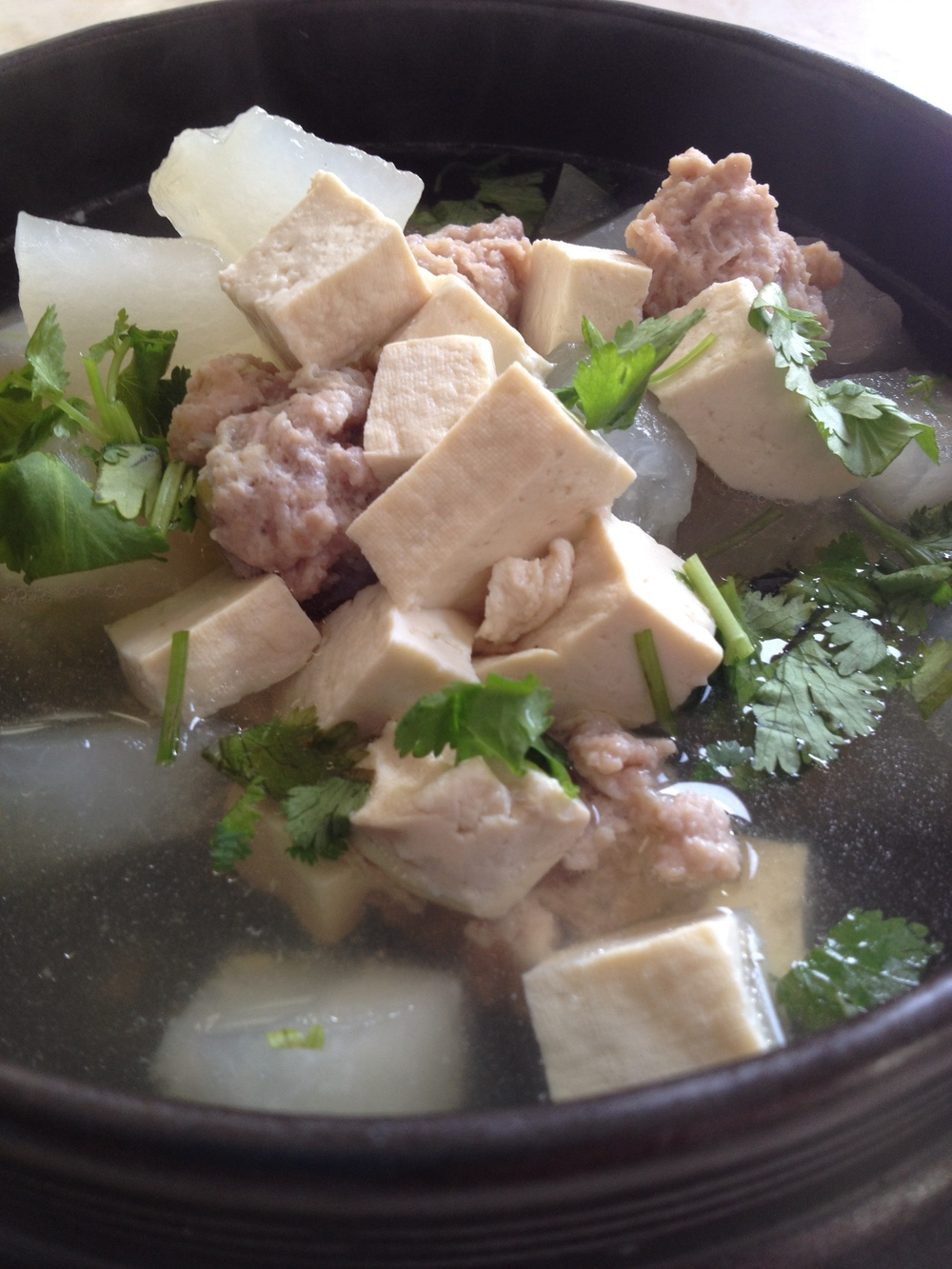 Tofu and Meat Ball Melon Soup