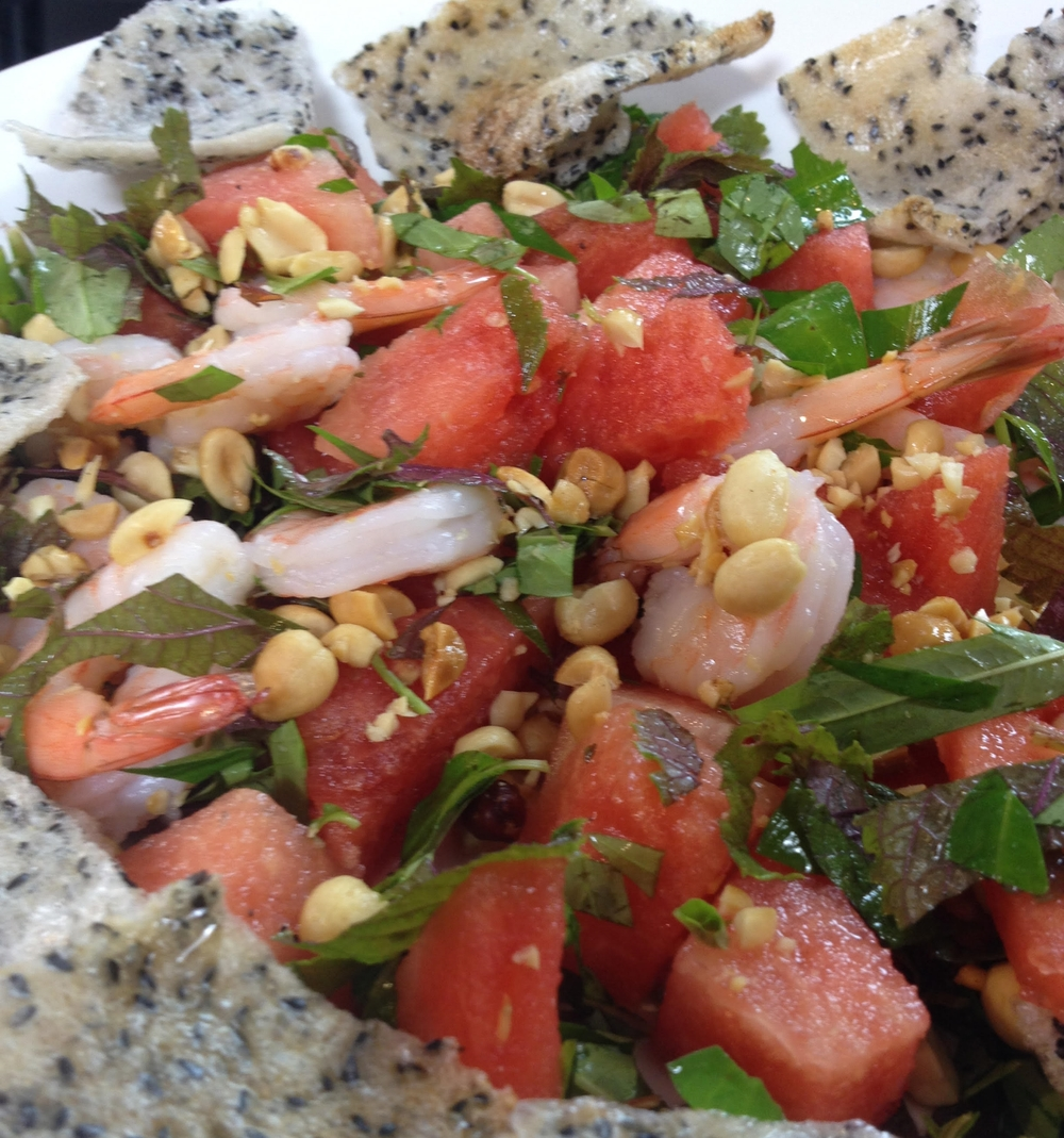 watermelon and shrimp salad
