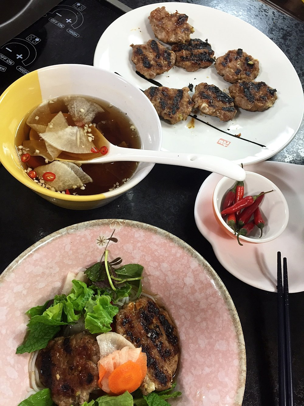 Vietnamese Vermicelli w/Grilled Pork Patties (Bun Cha Ha Noi)