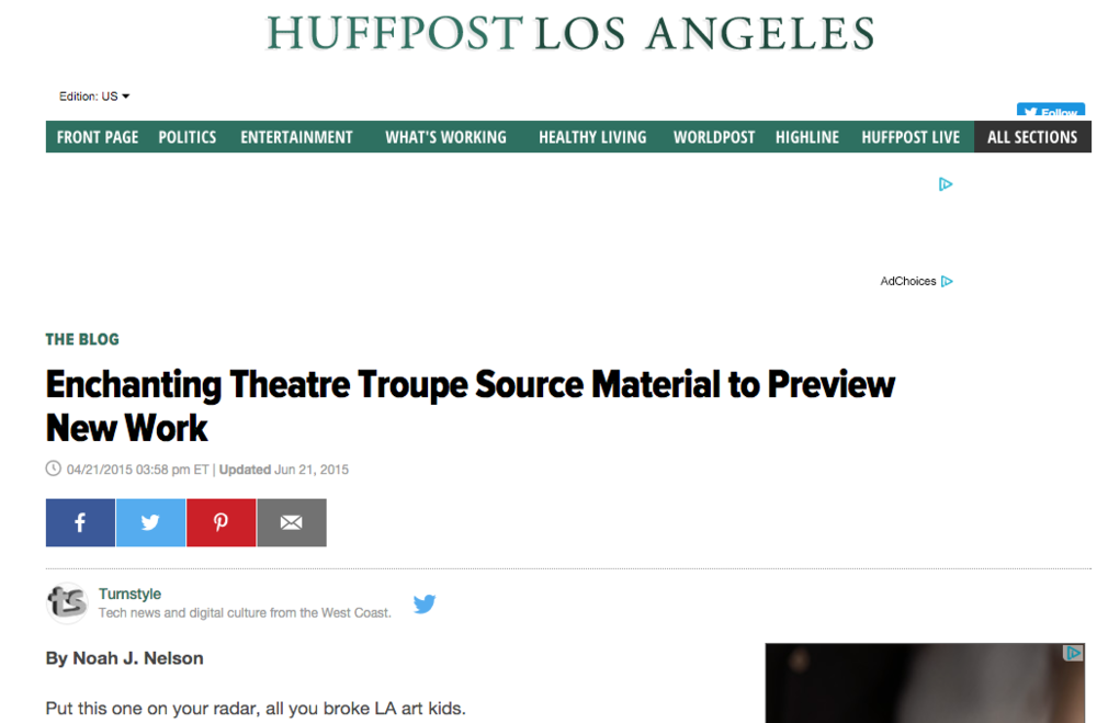 Huffington Post Coverage of Work In Progress Performance