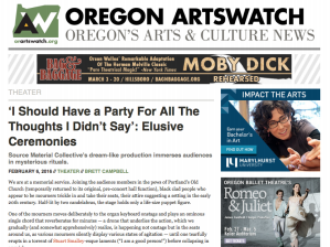 Oregon ArtsWatch Review // I Should Have a Party For All The Thoughts I Didn't Say