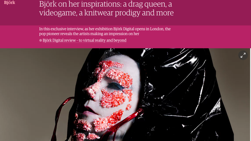"Björk lists Source Material's original work ""of Light"" and Source Material members Samantha Shay and KARYYN as her inspirations in The Guardian. August 2016."