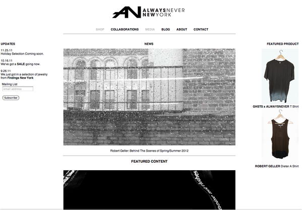 ALWAYSNEVER NY Webdesign