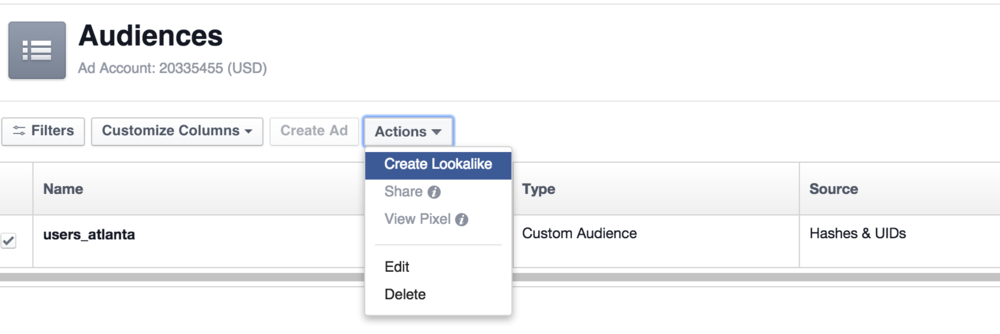 Create a lookalike audience from your Email Custom Audience