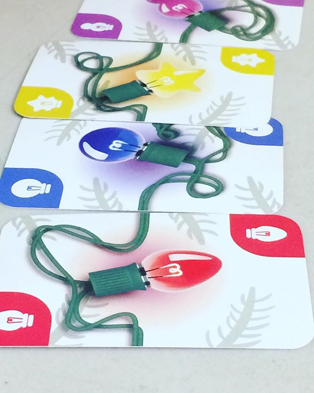 Some cards from our new game Christmas Lights. #bgg #boardgames #tabletop